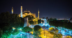 4K time lapse of the Hagia Sophia in Istanbul at night Stock Footage