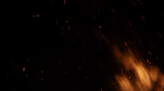 Fire Flames Close Up With Sparks On Black Background Stock Footage