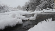 Stock Video Footage of winter river  hoarfrost and fluffy snow