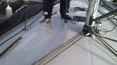 Jet washing yacht decks Part 2 Stock Footage