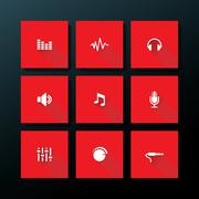 vector flat audio icon set - stock illustration