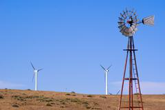 Water Well And Wind Turbines - stock photo