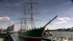 HAMBURG, GERMANY -an old ship is anchored in the Port of Hamburg - stock footage