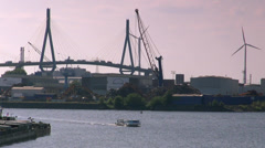 General view of the the port of Hamburg, Bridge in the backdrop Stock Footage