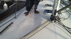 Jet washing yacht decks Part 1 Stock Footage
