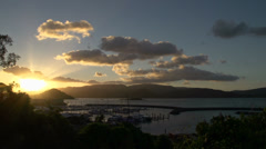 Sunset time lapse above Airlie beach town, Australia Stock Footage