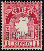 postage stamp showing a map with the outlines of ireland - stock photo