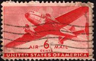 Stock Photo of united states postage stamp used for airmail deliveries overseas