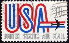 United states postage stamp used for airmail deliveries overseas Stock Photos