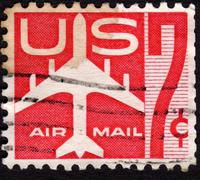 united states postage stamp used for airmail deliveries overseas - stock photo