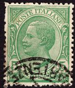 postage stamp showing king victor emmanuel iii, ca. 1906 - stock photo