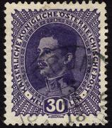 postage stamp showing austrian emperor charles i - stock photo