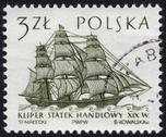 Stock Photo of postage stamp showing a historic frigate ship