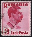 Stock Photo of romanian postage stamp showing the portrait of king carol