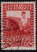 Postage stamp showing austrian emperor frans josef Stock Photos