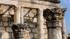 Columns From Fourth Century Synagogue at Capernaum, Israel - stock footage