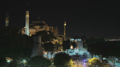 HD video of the Hagia Sophia in Istanbul at night Stock Footage