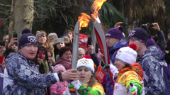 Olympic Torch Relay in Russia, Sochi 2014 Stock Footage