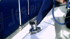 Coiling sheet on yacht Stock Footage