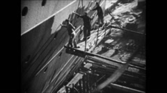 1937 - Work in German Shipyard 04 - Construction of Wilhelm Gustloff 03 Stock Footage