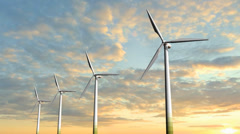 Windmill Turbines - Clean Green Wind Energy Stock Footage