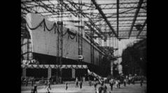 1937 - Work in German Shipyard 05 - Launching of Wilhelm Gustloff 01 Stock Footage