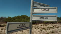 Signs on Robben Island Stock Footage
