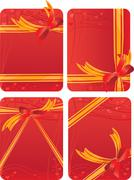 set of gift cards - red backgrounds with hearts - with gift golden and red bo - stock illustration