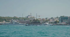 4K video looking out over the Bosphorus in Istanbul Stock Footage
