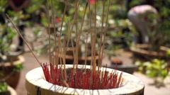 Incense Stick, Joss Stick Burning In Front Wat Machimmaran Temple, Malaysia Stock Footage