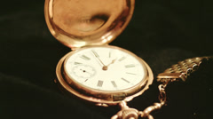 Timelapse of golden vintage antique watches, with turning camera Stock Footage