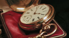 Old golden clock mechanism working, closeup shot with soft focus Stock Footage