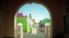 A street through an archway in Bo-Kaap Stock Footage