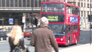 Stock Video Footage of London Bus on London Bridge