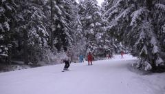 Skiers and snowboarders in ski resort Bansko Time lapse - stock footage