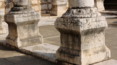 Columns at 4th Century Synagogue in Israrel Stock Footage