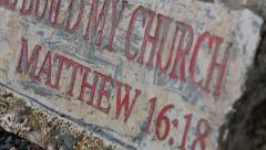 """I Will Build My Church"" Sign at the Statue of St. Peter Stock Footage"