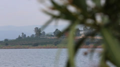 Focus Shift of Blessed Oleander on the Sea of Galilee Stock Footage