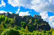 Stock Photo of edinburgh old town on the rocks, scotland, uk.