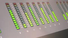 Audio control panel with led line in radio broadcasting studio, technology. Stock Footage