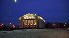 Russian Dramatic Theater in winter evening, Petrozavodsk Stock Footage