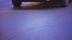 Close-up view on asphalt road with many cars - stock footage