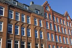 Facade of a traditional apartment building in Kiel, Germany Stock Photos