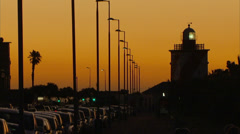 The lighthouse in Sea Point, at sunset Stock Footage