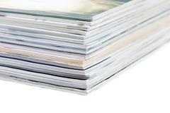close-ups of stack of colorful magazines - stock photo