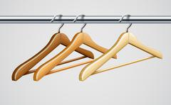 Wardrobe tube with wooden coat hangers for clothes - stock illustration