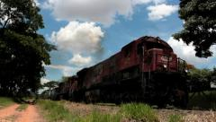 Freight train with cargo containers 1 Stock Footage