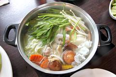 Hot sukiyaki in pot. Stock Photos