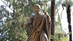 The Statue of St. Peter at Capernaum, Israel Stock Footage