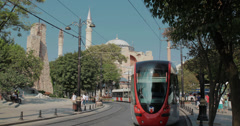 Tram passing through the Sultanahmet area of Istanbul with the Hagia Sophia 4K Stock Footage